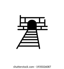 Line art train tunnel wall icon, simple symbol pictogram