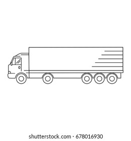 Line art transport icon, vector illustration - truck, waggon