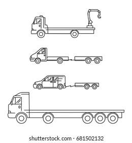 Line art transport icons set, vector illustration - truck, minivan, waggon, crane, trailer