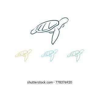 Line Art Turtle on the Sea Logo Pet Symbol