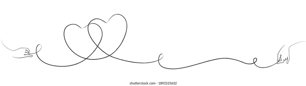 Line art with two intertwined hearts and hand drawing the lines