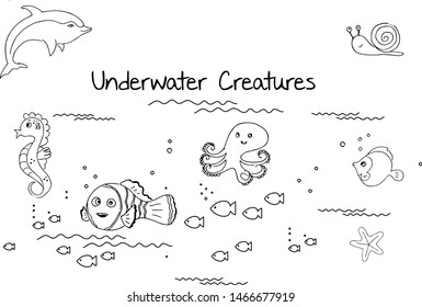 Line art of underwater creatures vector in hand drawn doodle style.  Vector doodle of fish, snail, dolphin, Octopus, sea horse, star fish
