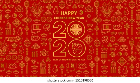 Line art vector banner with Happy New Year 2020 logo text design in Chinese style. Red pattern of Chinese elements, Rat zodiac sign, symbol of 2020 on the Chinese calendar for New Year's design.