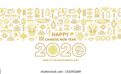 Line art vector banner with Happy New Year 2020 logo text design in Chinese style. Pattern of Chinese elements, Rat zodiac sign, symbol of 2020 on the Chinese calendar for New Year's design.