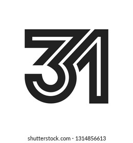 Line Art Vector Design Element. Figure 31. Combined numbers 3 and 1. Monograms of connected numbers.