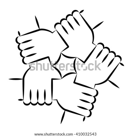 Line Art Vector Drawing Five Hands Stock Vector Royalty Free