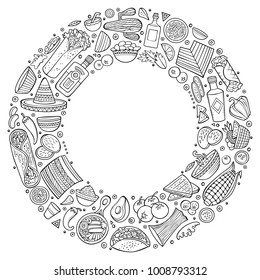 Line art vector hand drawn set of Mexican food cartoon doodle objects, symbols and items. Round frame composition