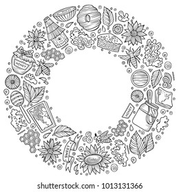 Line art vector hand drawn set of Honey cartoon doodle objects, symbols and items. Round frame composition