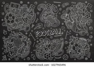 Line art vector hand drawn doodles cartoon set of football combinations of objects and elements. All items are separate