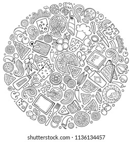 Line art vector hand drawn set of Pizza cartoon doodle objects, symbols and items. Round composition