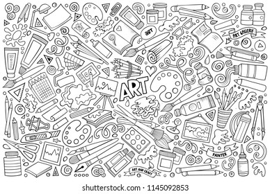 Line art vector hand drawn doodle cartoon set of Art and Craft objects and symbols