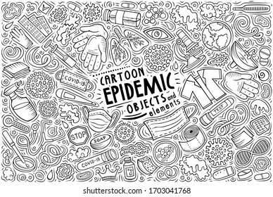 Line art vector hand drawn doodle cartoon set of Epidemic theme items, objects and symbols
