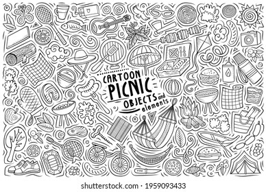 Line art vector hand drawn doodle cartoon set of Picnic theme items, objects and symbols