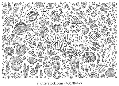 Line art vector hand drawn Doodle cartoon set of marine life objects and symbols