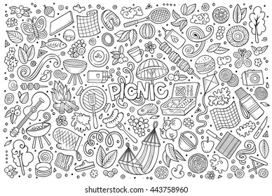 Line art vector hand drawn doodle cartoon set of picnic objects and symbols