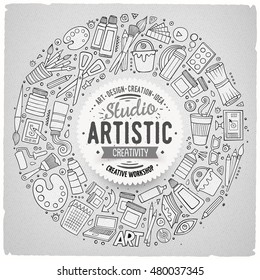 Line art vector hand drawn set of Art cartoon doodle objects, symbols and items. Round frame composition