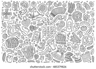 Line art vector hand drawn doodle cartoon set of Oktoberfest theme items, objects and symbols