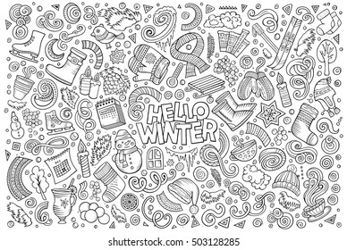 Line art vector hand drawn doodle cartoon set of Winter season objects and symbols