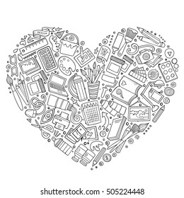 Line art vector hand drawn set of Art and Design cartoon doodle objects, symbols and items. Heart form composition