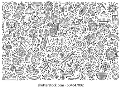 Line art vector hand drawn doodle cartoon set of Africa objects and symbols