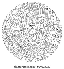 Line art vector hand drawn set of Art cartoon doodle objects, symbols and items. Round composition