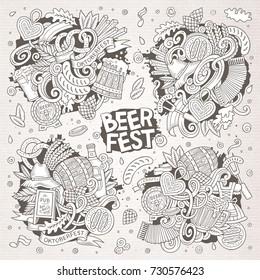Line art vector hand drawn doodle cartoon set of Oktoberfest theme items, objects and symbols