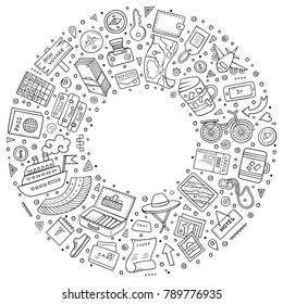 Line art vector hand drawn set of Travel cartoon doodle objects, symbols and items. Round frame composition