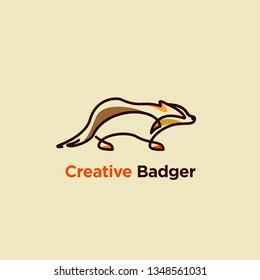 line art vector illustration of badger designs, badger logo designs concept