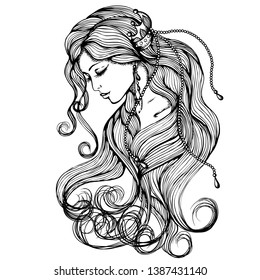 Line art. Vector illustration of a beautiful young embarrassed girl with long hair. Isolated on white background. Coloring book page