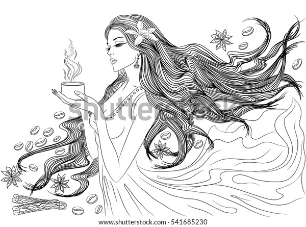 Line Art Vector Illustration Beautiful Young Stock Image