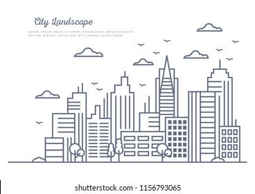 Line Art Vector Illustration of Big City Background
