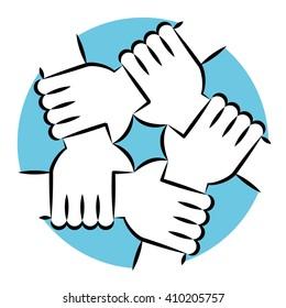 Line Art Vector Illustration. Five Hands Holding Each Other Symbolizing Unity.