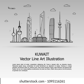 Line Art Vector Illustration of Modern Kuwait City with Skyscrapers. Flat Line Graphic. Typographic Style Banner. The Most Famous Buildings Cityscape on Gray Background.