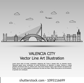 Line Art Vector Illustration of Modern Valencia City with Skyscrapers. Flat Line Graphic. Typographic Style Banner. The Most Famous Buildings Cityscape on Gray Background.