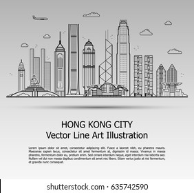Line Art Vector Illustration of Modern Hong Kong City with Skyscrapers. Flat Line Graphic. Typographic Style Banner. The Most Famous Buildings Cityscape on Gray Background.