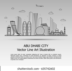 Line Art Vector Illustration of Modern Abu Dhabi City with Skyscrapers. Flat Line Graphic. Typographic Style Banner. The Most Famous Buildings Cityscape on Gray Background.