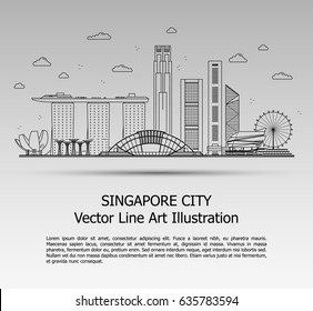 Line Art Vector Illustration of Modern Singapore City with Skyscrapers. Flat Line Graphic. Typographic Style Banner. The Most Famous Buildings Cityscape on Gray Background.