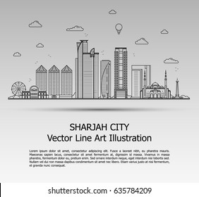 Line Art Vector Illustration of Modern Sharjah City with Skyscrapers. Flat Line Graphic. Typographic Style Banner. The Most Famous Buildings Cityscape on Gray Background.