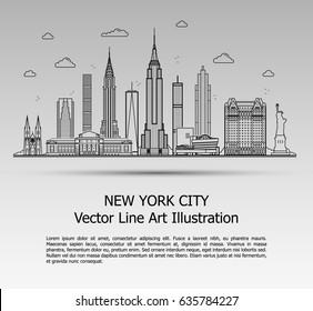 Line Art Vector Illustration of Modern New York City with Skyscrapers. Flat Line Graphic. Typographic Style Banner. The Most Famous Buildings Cityscape on Gray Background.
