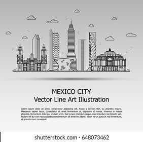 Line Art Vector Illustration of Modern Mexico City with Skyscrapers. Flat Line Graphic. Typographic Style Banner. The Most Famous Buildings Cityscape on Gray Background.