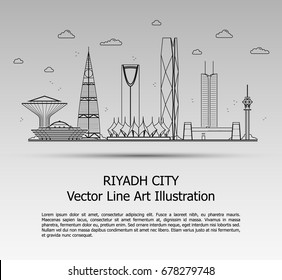 Line Art Vector Illustration of Modern Riyadh City with Skyscrapers. Flat Line Graphic. Typographic Style Banner. The Most Famous Buildings Cityscape on Gray Background.