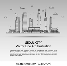 Line Art Vector Illustration of Modern Seoul City with Skyscrapers. Flat Line Graphic. Typographic Style Banner. The Most Famous Buildings Cityscape on Gray Background.