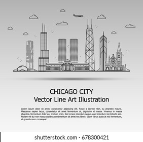 Line Art Vector Illustration of Modern Chicago City with Skyscrapers. Flat Line Graphic. Typographic Style Banner. The Most Famous Buildings Cityscape on Gray Background.
