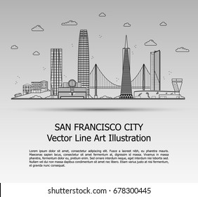 Line Art Vector Illustration of Modern San Francisco City with Skyscrapers. Flat Line Graphic. Typographic Style Banner. The Most Famous Buildings Cityscape on Gray Background.