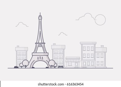 Line Art Vector Illustration of Paris with its Famous Landmark Eiffel Tower and City Buildings in the Background.