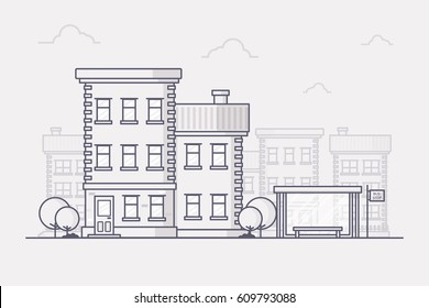 Line Art Vector Illustration of a Small Town Building with Bus Stop.