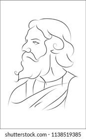 line art vector image of rabindranath tagore