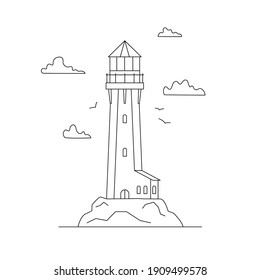 Line art vector of lighthouse building with natural landscape, path lighting. Searchlight tower, marine navigation of ships. Sea pharos or beacon. Linear lighthouse marine and ocean theme seaside.