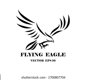 Line art vector logo of eagle that is flying.