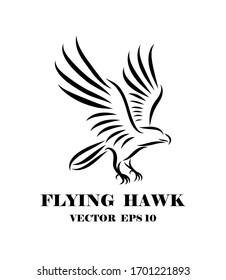 Line art vector logo of hawk that is flying.